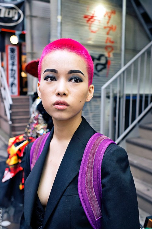 hot pink buzz cut
