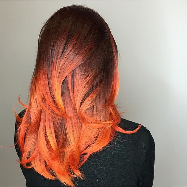 black and firey red ombre