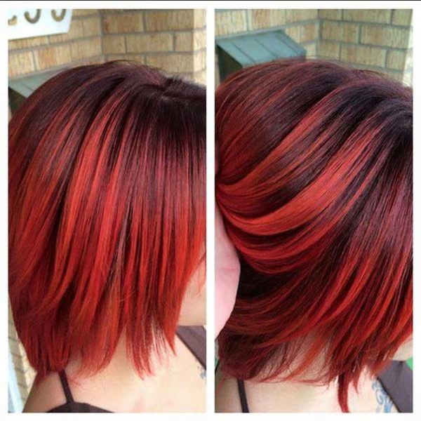 Bright Red Highlights On Black Hair Two Tone Coloring