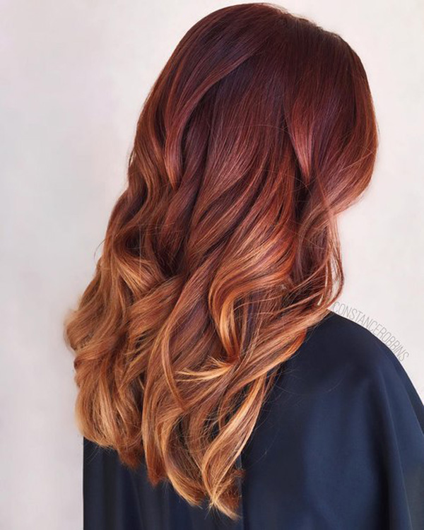 copper melt to red hair color idea