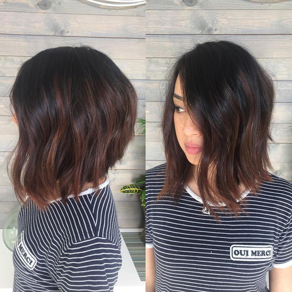 32 trendy hairstyles and haircuts for round face dark brown textured bob with chocolate highlights pmusecretfo Image collections