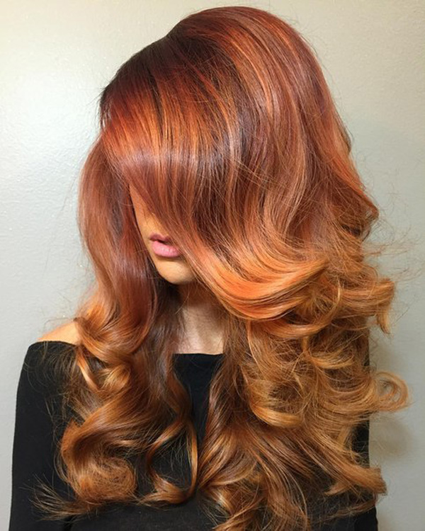 balayage fairy red hair