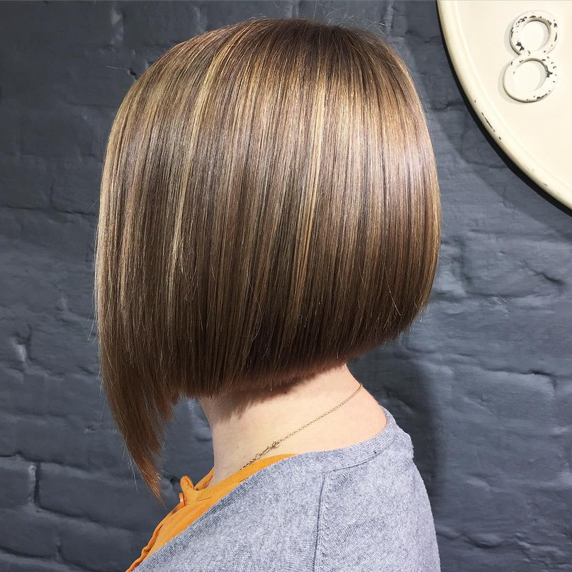 inverted light brown bob with long bang