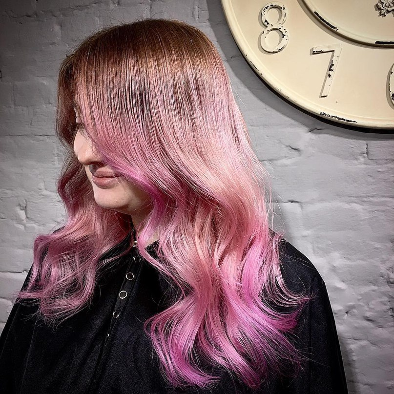 Long chocolate brown hair with hot pink ends