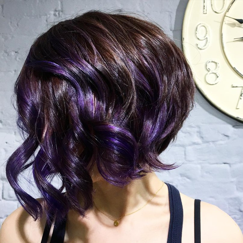 Textured bob with purple streaks