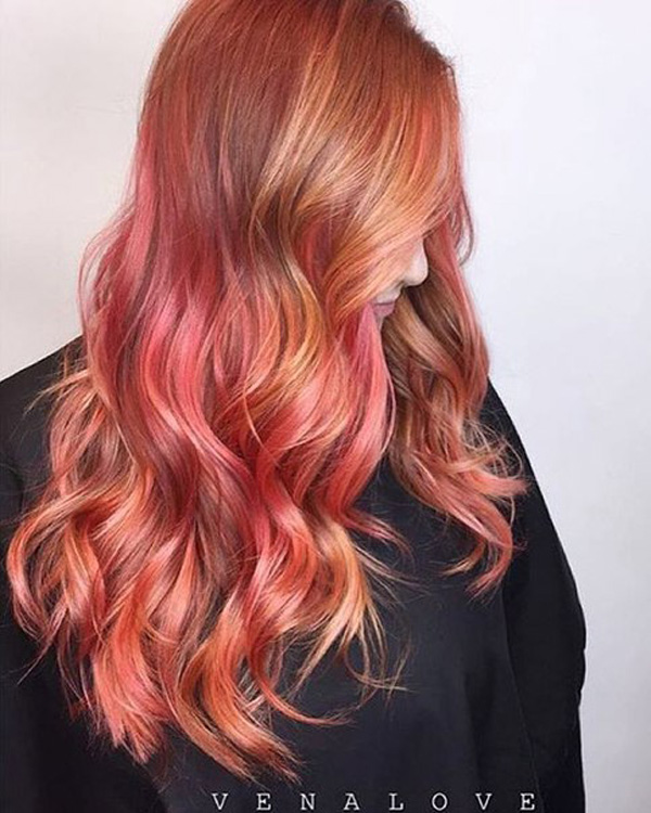 red and rose balayage