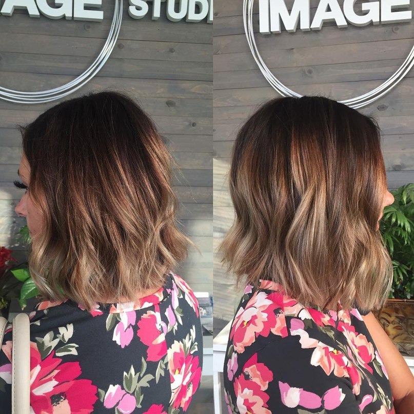 Textured brown lob with golden blonde and red streaks
