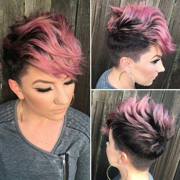 black hair with pink ombre highlights