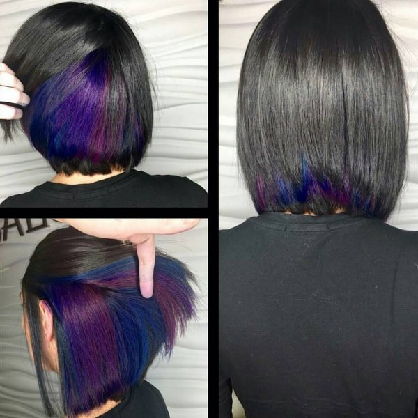 30 stunning ideas of black hair with highlights hidden blue and purple spots with a black lob jet black hair with peekaboo highlights pmusecretfo Image collections