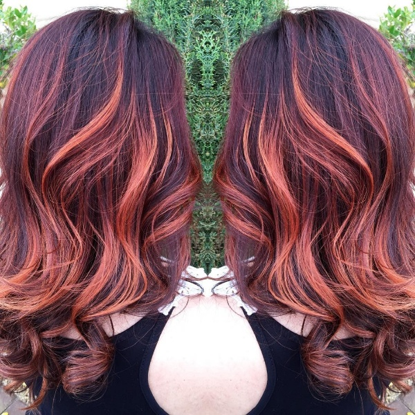 black hair with red and blonde highlights