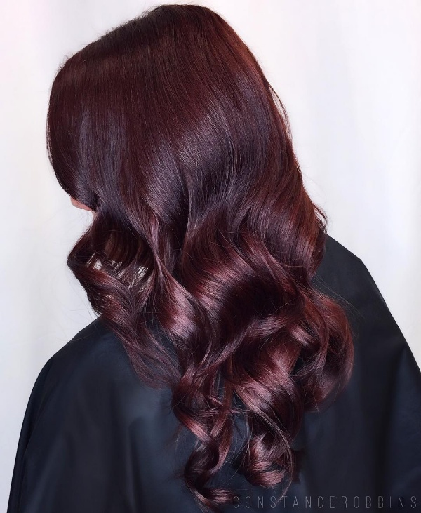 Chocolate Burgundy Coloration On Black Hair