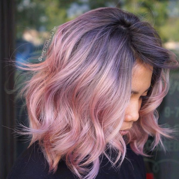 black hair with rose brown ombre