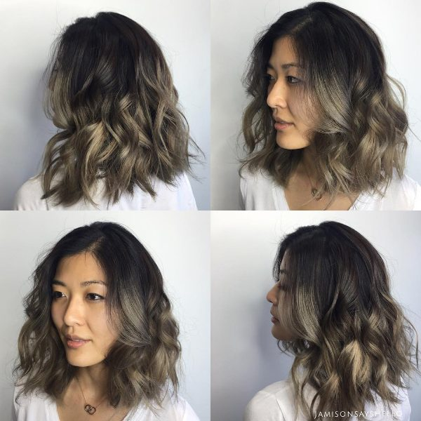 black and brown grey ombre hair