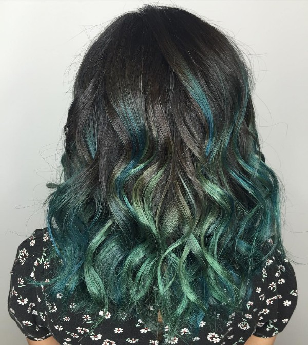 turquoise and black scene hair