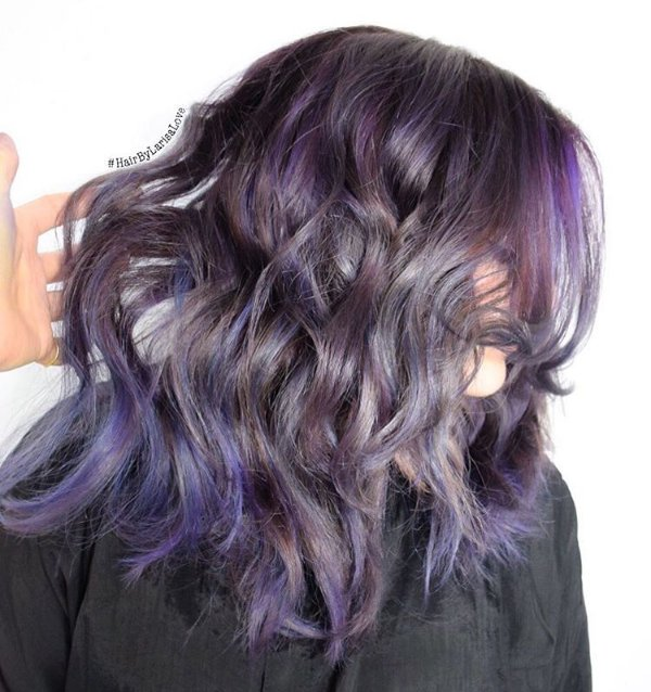 30 stunning ideas of black hair with highlights black hair with gray and purple highlights pmusecretfo Image collections