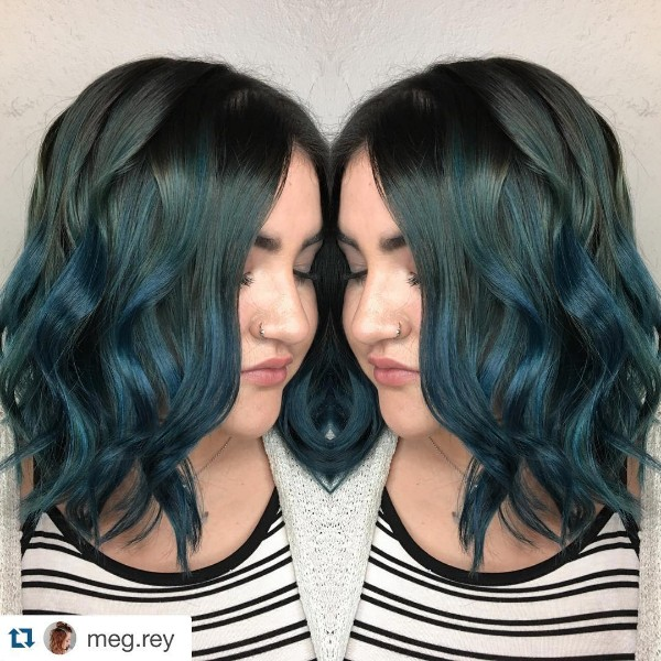 pastel blue and black hair