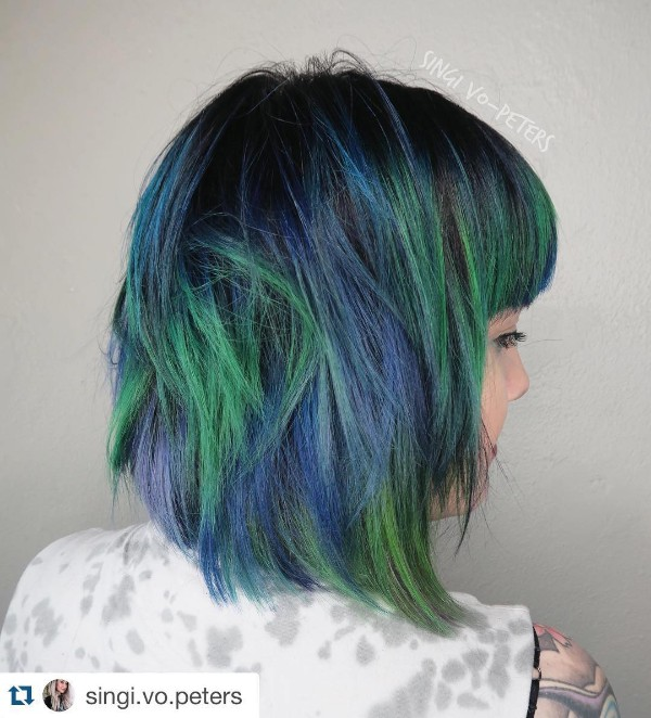Top 25 black and blue hair color ideas black hair and blue and green highlights pmusecretfo Image collections