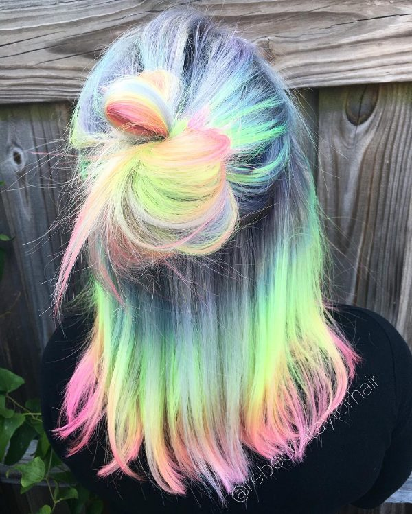rainbow ombre hair on black hair