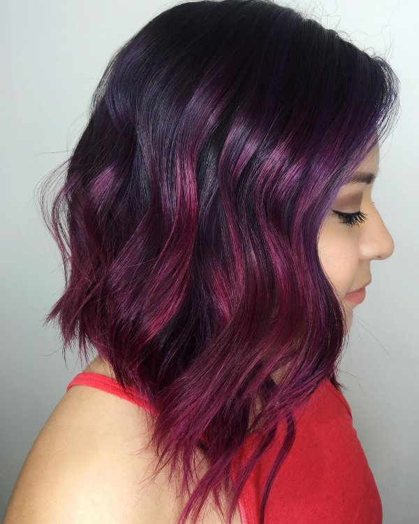 30 stunning ideas of black hair with highlights black hair with purple highlights pmusecretfo Image collections