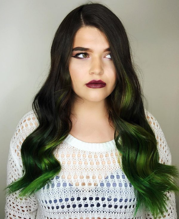 30 stunning ideas of black hair with highlights black hair with green highlights pmusecretfo Image collections
