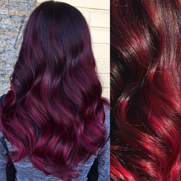Top 25 red and black ombrehighlights hair color ideas jet black hair with red highlights pmusecretfo Images