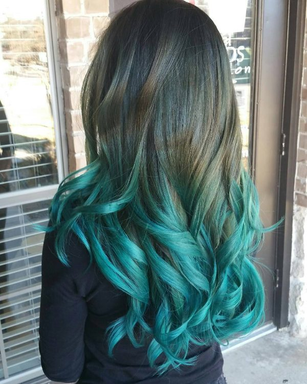 black hair with blue ombre