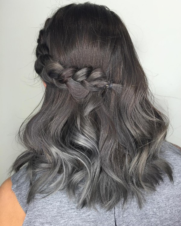25 cool black and grey hair color ideas that are trendy now smooth melting from steel to frost gray tiny metallic highlights on black hair pmusecretfo Choice Image
