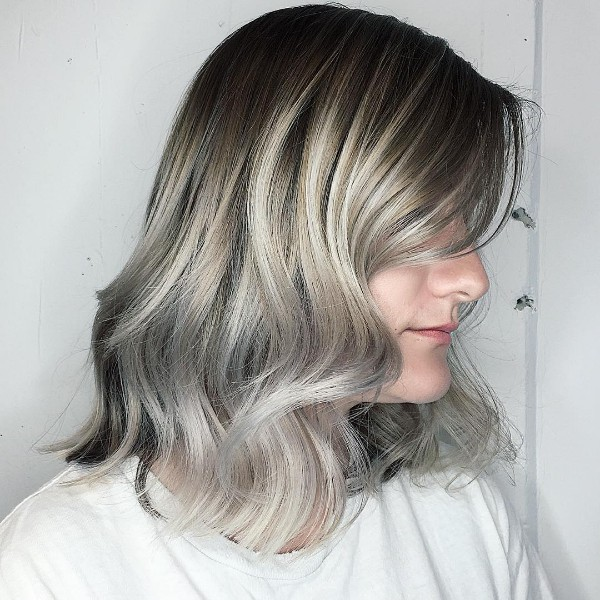 blond gray highlights on black lob