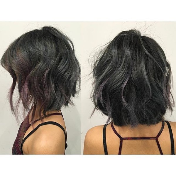25 cool black and grey hair color ideas that are trendy now tiny gray and purple highlights on textured bob pmusecretfo Gallery