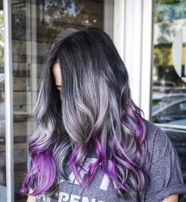 gray and purple balayage on black hair