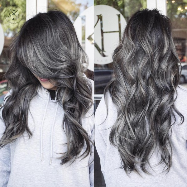 gray brown balayage on black hair