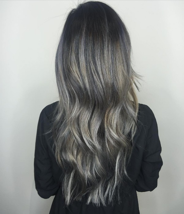 Black To Grey Melting Green Metallic Balayage On Long Locks