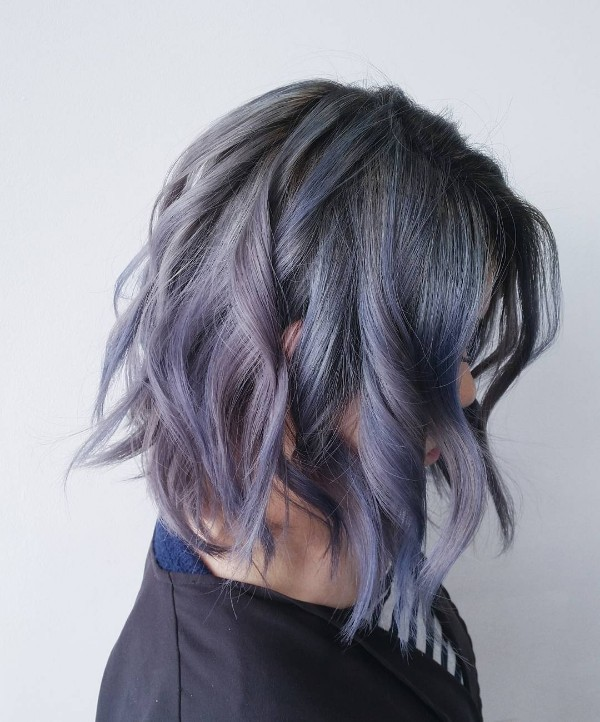 25 cool black and grey hair color ideas that are trendy now gray purple and blue highlights on tousled bob pmusecretfo Choice Image