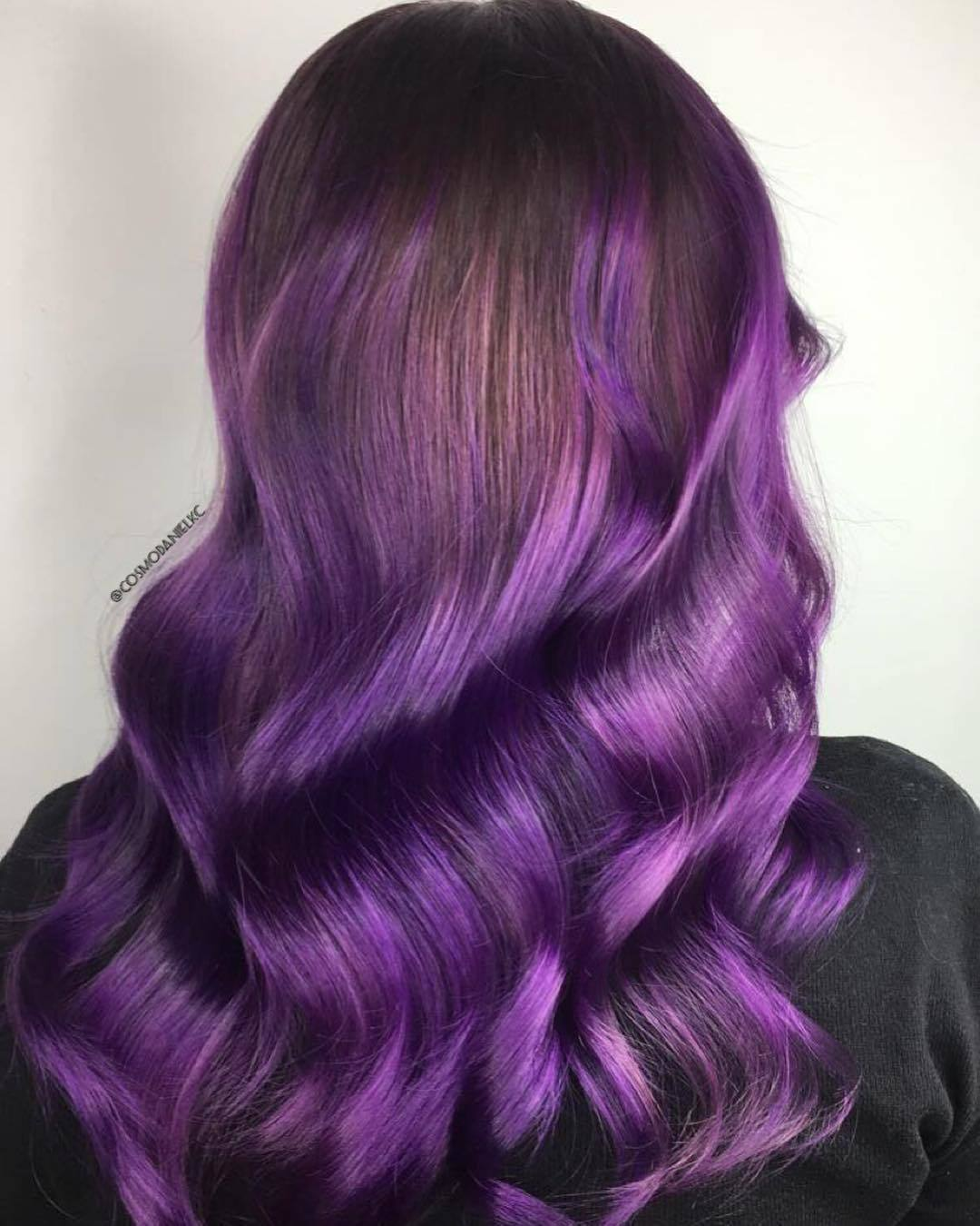 brown to blue-purple hair