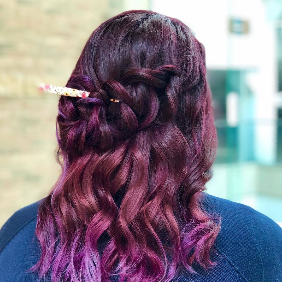 dark brown hair with purple tips