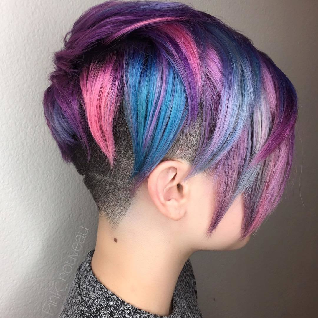 purple brown hair color pixie