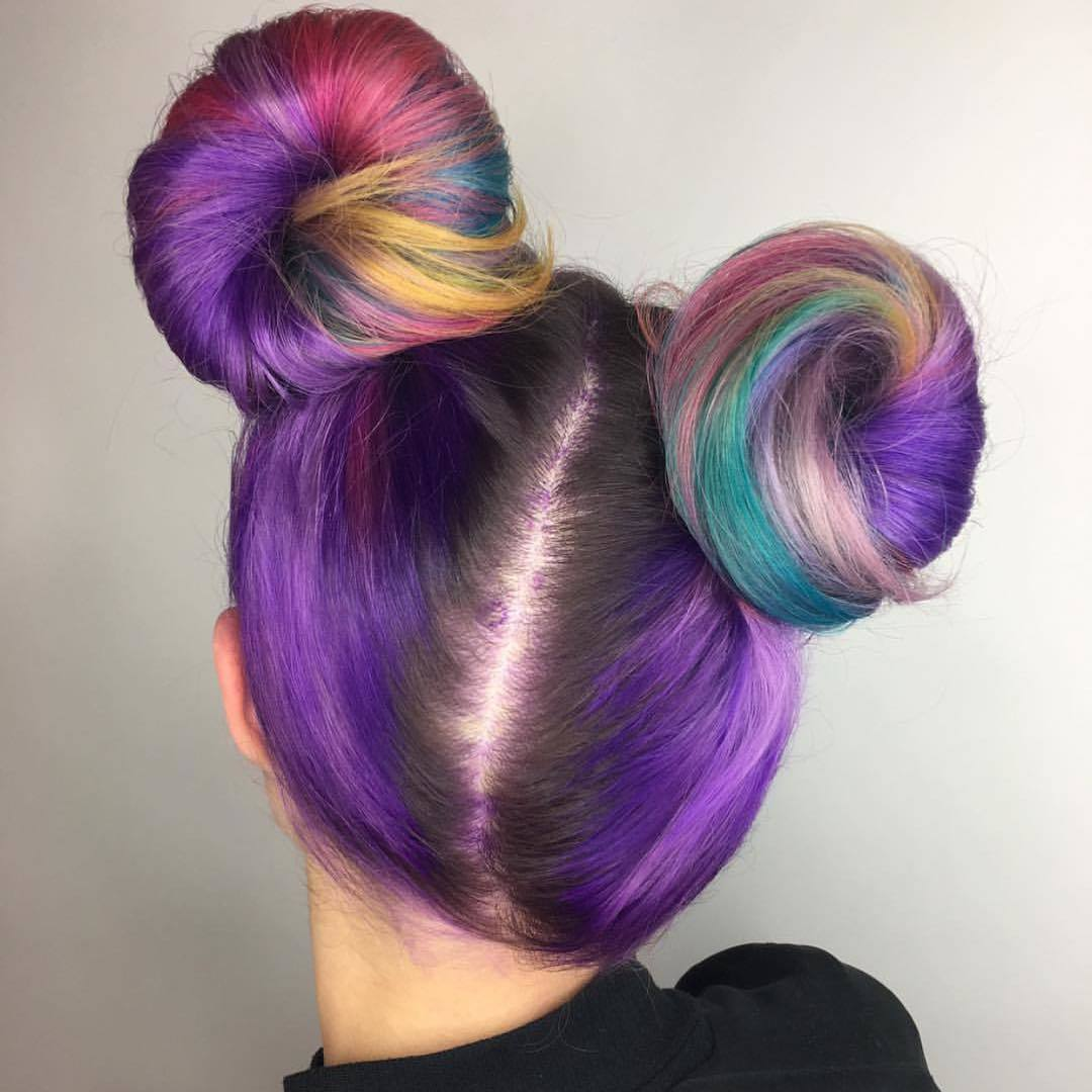 purple streaks in brown hair buns