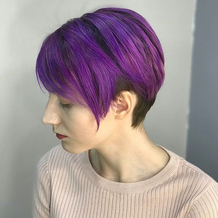 purple highlights on short hair