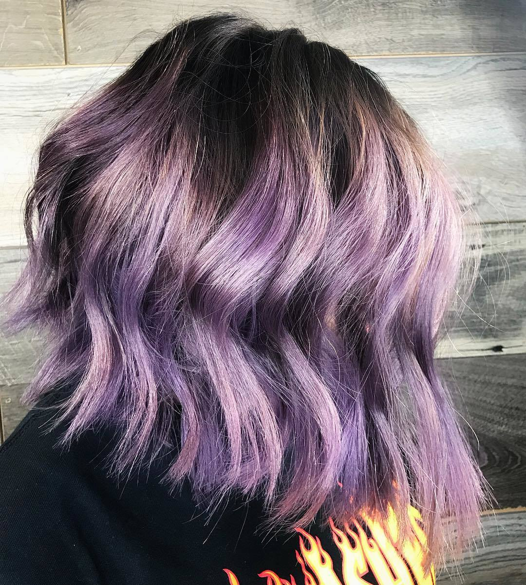 lavender balayage on brown textured lob
