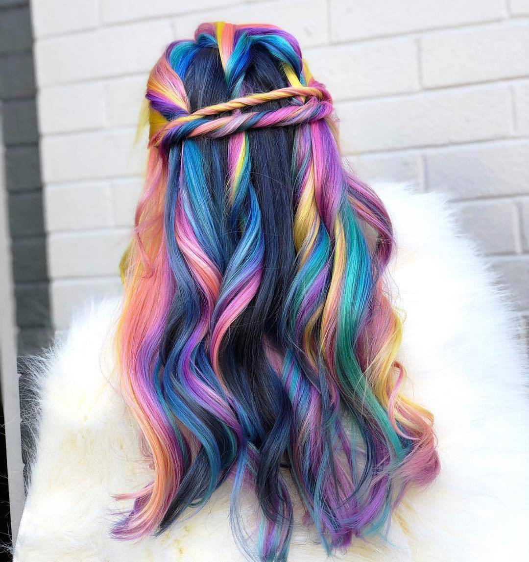 dark hair with purple rainbow highlights