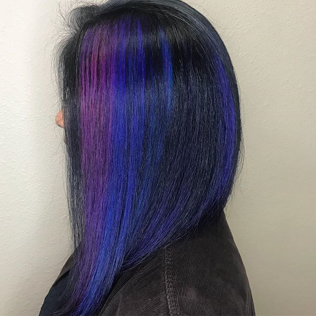 indigo purple streaks on dark hair