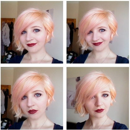 peach hair color and asymmettic bob