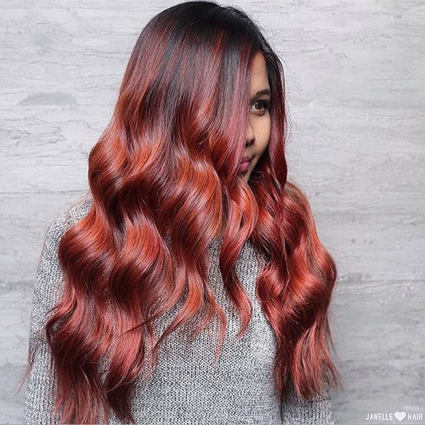 rosy firey red highlights