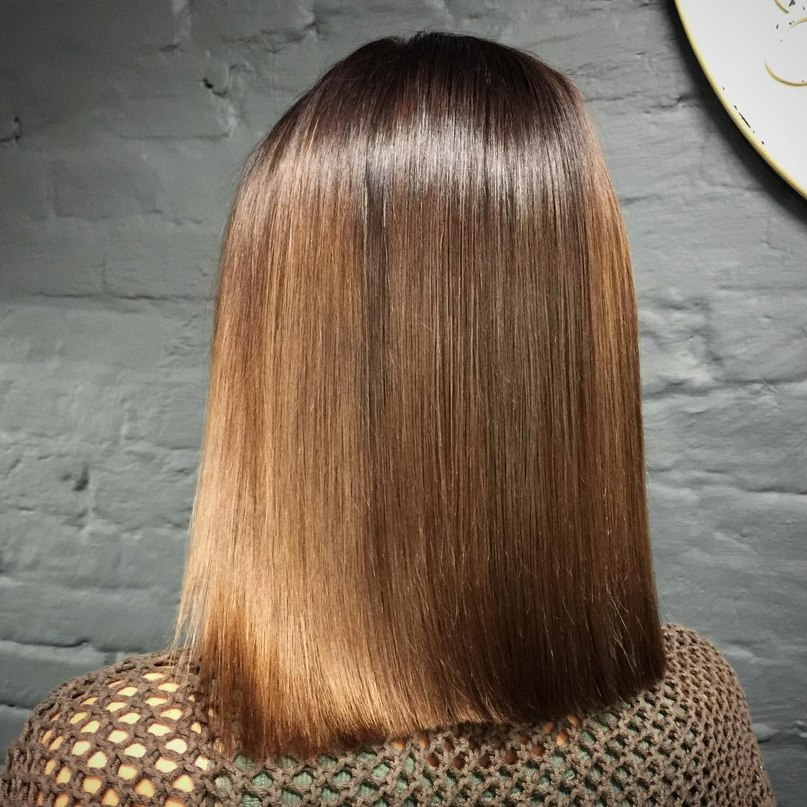 Classy long bob in ombre style for brown hair