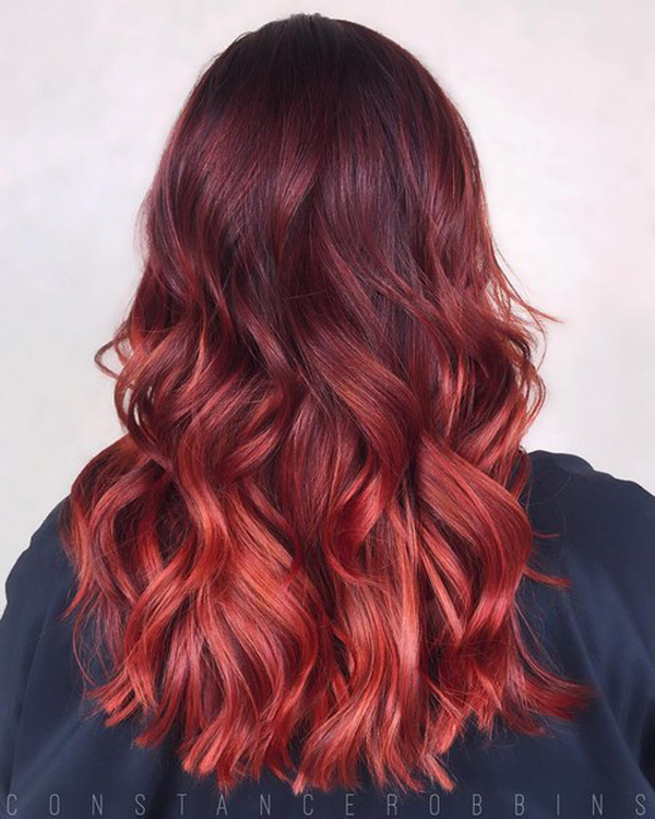 copper to red melting hairstyle