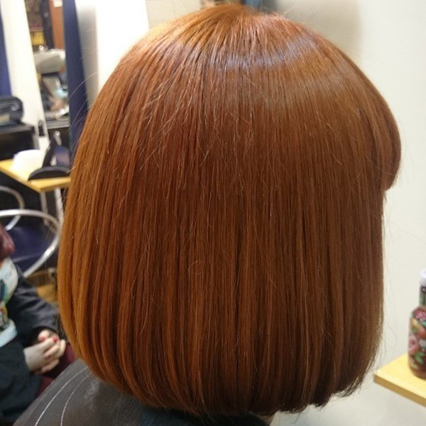 ginger red blunt bob