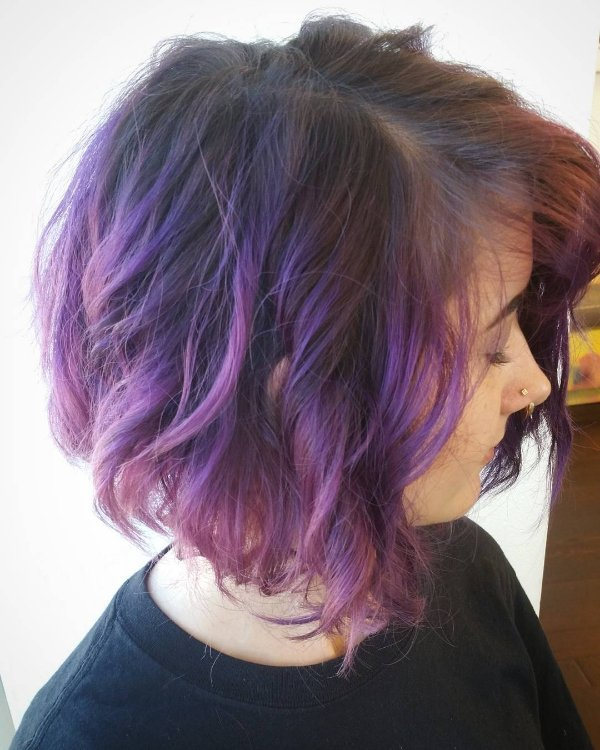 black hair with violet highlights