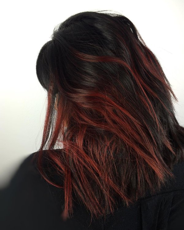 black hair with dark red highlights