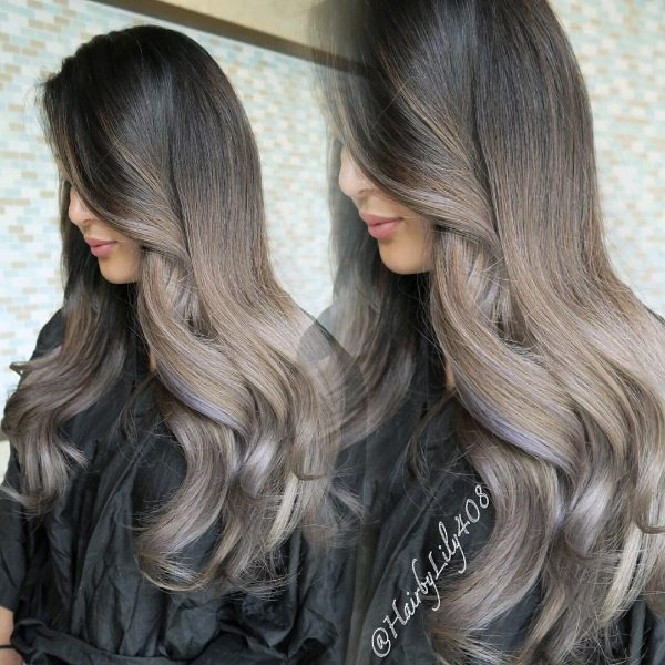 black and pearple brown ombre hair