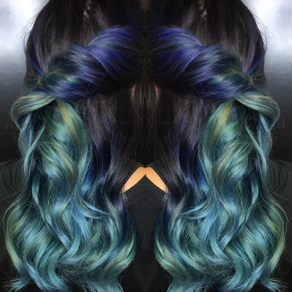 black, turquoise and blue ombre hair